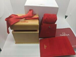 Original Ladies Omega Wood w/ Red Ribbon Watch Box, Outer Box, Manual, Wallet