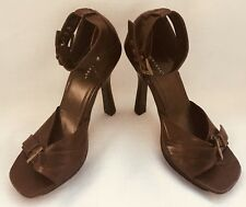 "Shoes BONNIBEL Ankle Strap Open Toe 4 1/2"" Heels Square Platform BROWN 7 1/2 7.5"