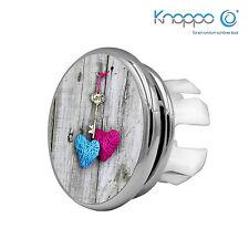 2er Set Waschbecken Überlauf Abdeckung, Blende - Mirror Schlüssel zum Herz Motiv