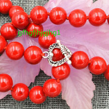 """New Natural 12mm Red Marine Coral Gemstones Necklace 18"""" Tibetan silver clasps"""