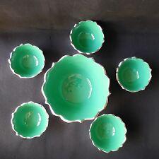 IMPULSE! Ice Cream Bowl Set Of 6 Desserts Dish Candy Pewter /Green NEW