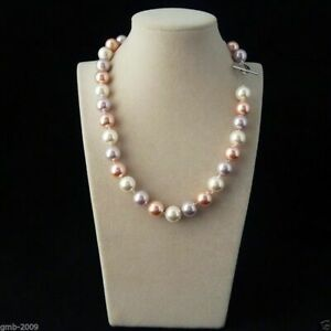 Rare Huge 12mm Genuine South Sea Shell Pearl Round Beads Necklace 20'' AAA+