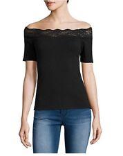Juniors Decree Lace Trim Bodycon Top Shirt Black XS Extra Small NWT