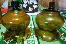 Home Interiors Homco Gold Amber Fluted Glass Votive Cups - Set of Two - Rare