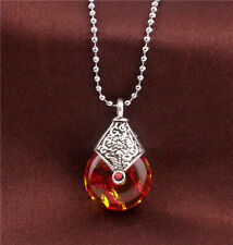 Colorful Jade Stone Water Drop Pendant Retro Silver Plated Alloy Chain Necklace
