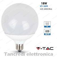 Lampadina led V-TAC 18W = 115W E27 bianco freddo 6000K VT-1899 globo G120 bulbo