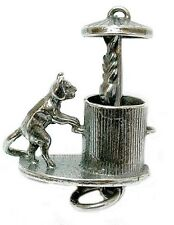 VINTAGE SILVER MOVING CAT IN DUSTBIN CHARM