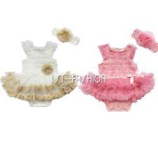 Neugeboren Kinder Mädchen Rosetten Bodysuit Overall Tutu Pettiskirt Partei kleid