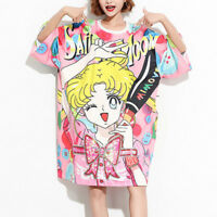 Sailor Moon Womens Oversize T-shirts Cute Sequin Loose Long Shirts Dress Anime