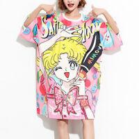 Sailor Moon Women Oversize T-shirts Cute Sequin Bling Bling Long Shirts Dress
