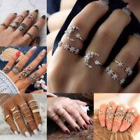 Women Silver/Gold Boho Stack Plain Above Knuckle Ring Midi Finger Tip Rings Set