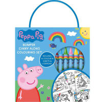 Peppa Pig Girls Bumper Carry Along Colouring Set Travel Size 6 Crayons