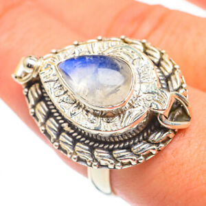 Large Rainbow Moonstone 925 Sterling Silver Poison Ring Size 9 Jewelry R69288F
