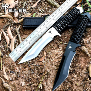 """Combat Knife Fixed Blade Forged Steel Mirror Blade Rope Handle Trailing Point 4"""""""
