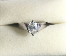 14k White Gold Oval Diamond Solitaire Engagement Ring 0.83 Carats