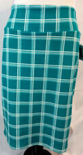 LulaRoe Cassie Skirt Womens 2X Teal Turquoise Green White Check Plaid Stretch