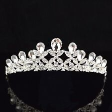 Clovers Clear Austrian Rhinestone Crystal Hairband Tiara Crown Bridal Prom T4