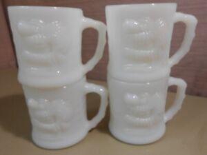 4 Vintage GROG Mugs / Cups Johnny Hart Milk Glass