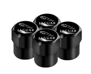 Jaguar XF XE XJ XJ6 S X E F-Pace F-Type XKR Aluminum Valve Cap BLACK Wheel Tyre