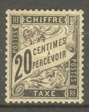 "FRANCE STAMP TIMBRE TAXE N° 17 "" TYPE DUVAL 20c NOIR "" NEUF x TTB"