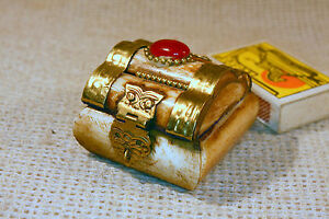 ANTIQUE Middle East CARVED CAMEL BONE & BRASS SMALL JEWELRY TRINKET BOX #5