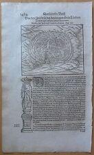 MÜNSTER/MUNSTER: Cosmographia Woodcut Rhodos Greece - 1628