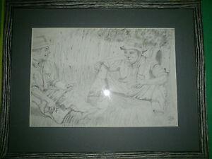 "Original Pencil Sketch of ""Half Yoking Time"" (Tea Break) Framed."