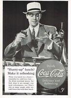 1930s Original Vintage Coca Cola Man At Soda Fountain Fashion Photo Print Ad