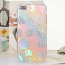 Rainbow Shiny Clear Soft Rubber Edge Hard Back Case  For iPhone 6 6s 7 /Plus