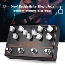 New 4 in 1 Electric Guitar Effects Pedal Distortion w/ Overdrive Loop Delay A9P5