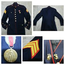 VTG WWII USMC Dress Blue UNIFORM JACKET W/Medal & Insignia Wool Navy Red Gold Sm