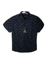 Molokai Surf Co. collard Button up short sleeve  sharks blue shirt medium size