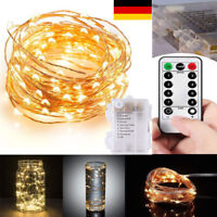 10M 100 LED Lichterkette Drahtlichterkette Fernbedienung Timer Batterie Warmweiß