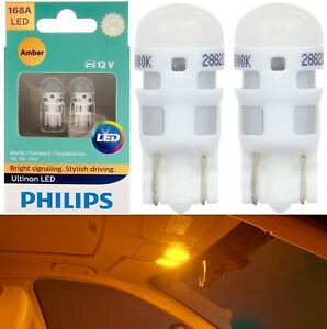 Philips Ultinon LED Light 168 Amber Orange Two Bulbs Interior Map Replacement OE