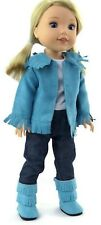 """Turquoise Western Set fits 14.5"""" American Girl Wellie Wishers Doll Clothes"""