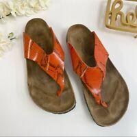 Birkenstock Sandals Reptile Snake Print Orange Size 41