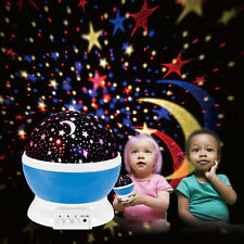 Kids Children LED Rotating Projector Starry Night Lamp Star Sky Projection Light Blue