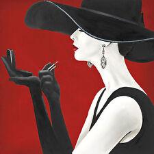 Marco Fabiano: Haute Chapeau Rouge II Keilrahmen-Bild 50x50 Leinwand Frau Hut