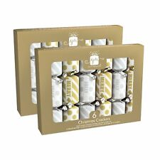 """6"""" Mini Christmas Crackers - Silver and Gold, 12 Crackers Total"""