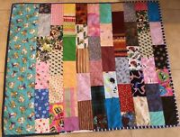 Patchwork Small Quilt, Rectangle Logs, Multi Color Prints, Hand Made