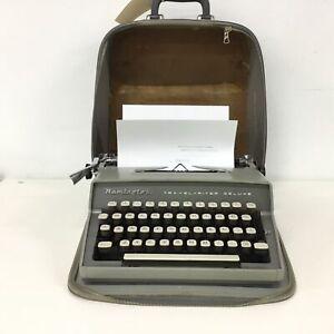 Remington Travel Riter Delux Portable Typewriter Grey Metal w/ Case #417
