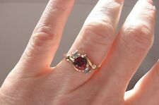 Garnet and Diamond  Ring 3-Stones 1+ Ct 10K Yellow Gold Size 6  NEW