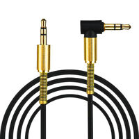 3.5mm Aux Cable Male to Male Cord L Right Angle Car Audio Headphone Jack 1 Meter