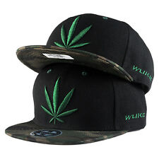 Weed Leaf Pattern Snapback HipHop Baseball Cap Hat Black Rap BaseCap