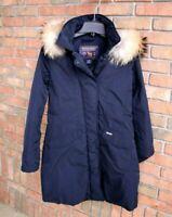 WOOLRICH JOHN RICH & BROS Modern Vail Fur Trim Coat Midnight Blue XS MSRP $695