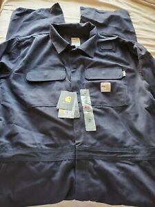 Carhartt Men's Big & Tall Flame Resistant Traditional Twill Coverall Navy 50 Tal