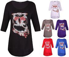 Womens New Glitter Owl Printed Ladies Half Sleeve Fishtail T-Shirt Top Plus Size