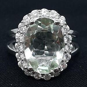World Class 7.40ctw Green Amethyst & Diamond Cut White Sapphire 925 Silver Ring