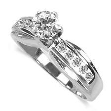 18k White Gold 0.85 Carat Classic Pave VSI/SI1 Diamond Engagement Ring
