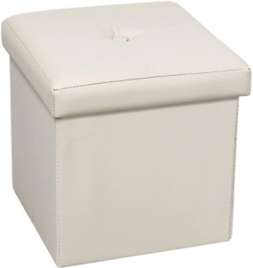 Bonlife Storage Ottoman Boxes Faux Leather Folding Cube Foot Stool Toy Box Chest
